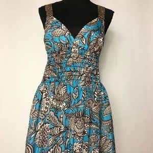Trina Turk Blue and Brown Dress
